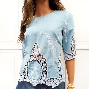 CYNTHIA ROWLEY Embroidered Lace Button Back Top S